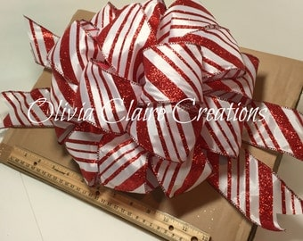 Holiday Bow, Christmas Bow, Gift Bow, Gift Basket, Christmas Tree Topper. White Satin with Candy Striped Bow for Wreath, Holiday Decor
