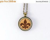 ON SALE Fleur De Lis Engraved and Painted in Cherry Wood Necklace Pendant