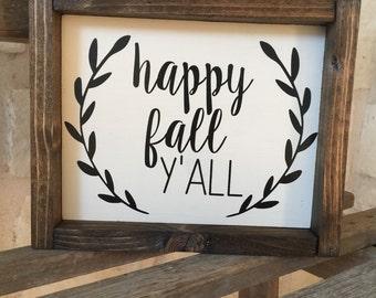 Happy Fall Y'All Framed Wood Sign