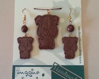 Set pendant and earrings puppy