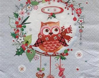 Set of 2 pcs 3-ply ''Christmas wisdom'' paper napkins for Decoupage or collectibles 33x33cm, Owl napkins, Birds napkins, Decopatch