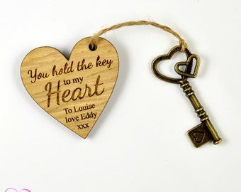 "Personalised ""You are the Key to my Heart"" Valentines Day Gift Present"