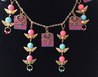 Icky Thump - Pink, Blue & Gold Statement Necklace