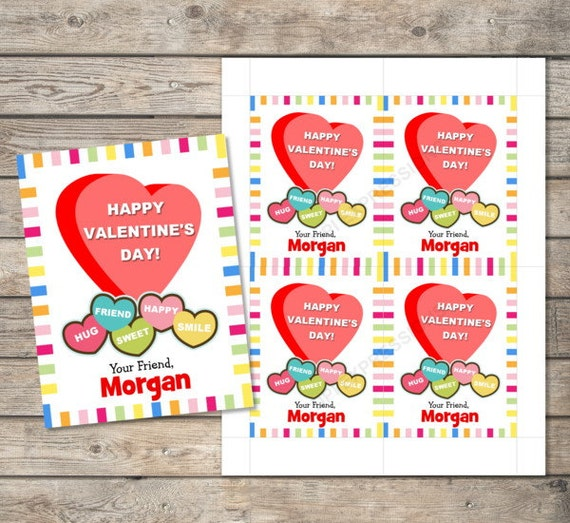 Kids Valentine Cards Personalized Printable Valentines Day Cards – Valentines Cards with Candy