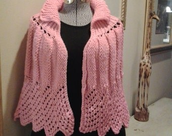 SALE! Beautiful Handmade Crochet Pink Shawl Poncho Wrap *Also available in white*