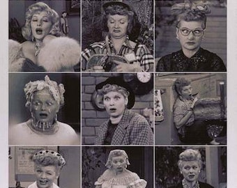 I Love Lucy Funny Face Collage Vintage Poster