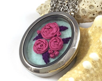 Pink Rose Necklace, Embroidered Necklace, Flower Jewelry, Embroidery Jewelry, Pink Rose Gift, Gift for Women, Pink Rose Pendant