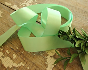 """2 Yards - Mint Green Double Faced Satin  Ribbon - 7/8"""""""