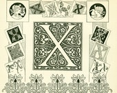 1897 Letter X, French Dictionary LarousseAlphabet Chart  scrapbooking home decor wall art 115 years old