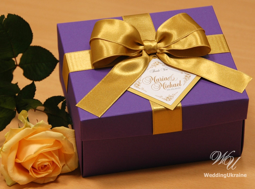 Purple and gold elegant favor gift box with tag satin