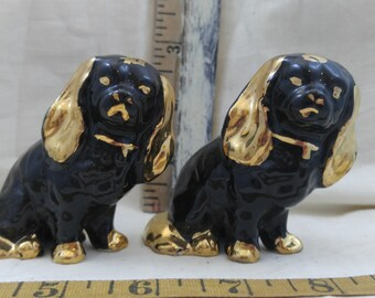 Black and gold spaniels salt and pepper shakers
