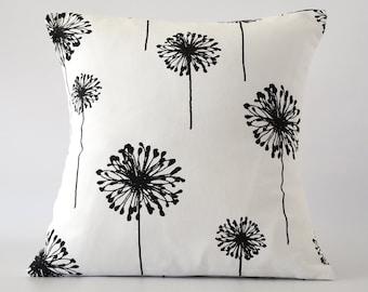 black white pillow cover dandelion pillow cover black white pillow dandelion decorative pillow