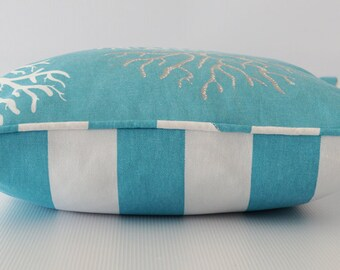 Blue pillow, teal pillow cover, beach decor pillow, coral print pillow cover, teal blue pillow, decorative pillow, throw pillow, cushion