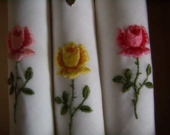 handkerchiefs Art deco, beautiful handkerchiefs, beautiful embroidery of roses,