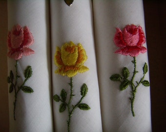 Art deco handkerchiefs, beautiful handkerchiefs, beautiful embroidery of roses,
