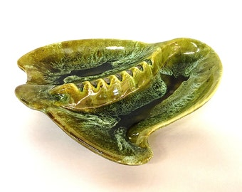 Marcia of Calif Green Ashtray 70B California Pottery Retro 1960s Avocado Green Ashtray