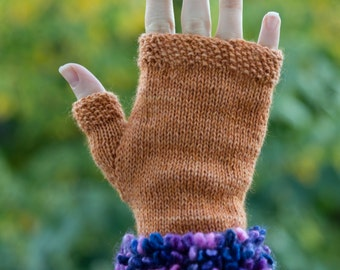 Skip to my Loop Cuffed Fingerless Gloves in Purple/Orange