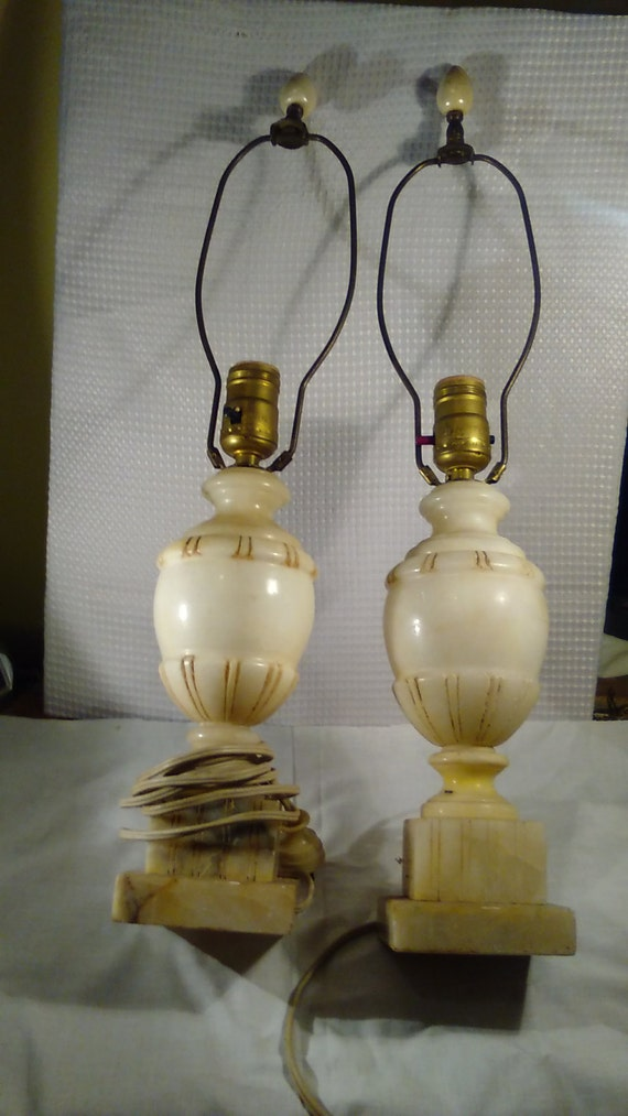 Pair Of Antique White Alabaster Lamps By 5of6sisters On Etsy