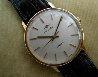 c.1968 18K GOLD MOVADO with Rare TURLER Swiss Dial.