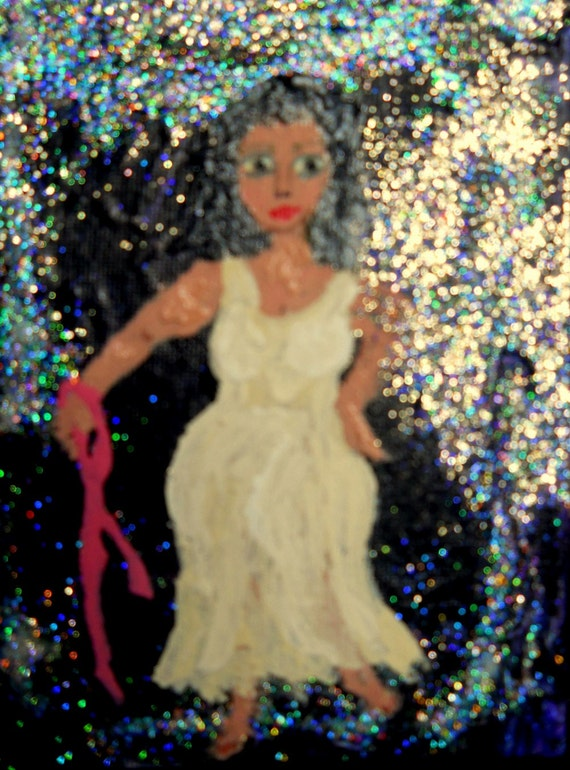 "Breast Cancer Survivor Painting Acrylic on 5x7"" Canvas Panel Outsider Folk Art by Artist Stacey Torres"