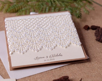 Custom Invitations, Lace Wedding Invitation, Elegant Wedding Invitations, Pocket Invitations, Lace Invitations, Guipure Invitations