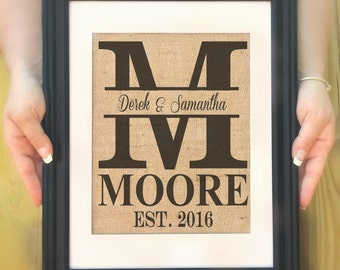 Personalized Last Name Gift, Personalized Wedding Gift, Personalized Monogram on Burlap, Wedding Ideas, Gift for Couple, Burlap Wedding