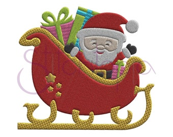 Christmas Santa's Sleigh Embroidery Design - Digital Machine Instant Download Presents Holiday
