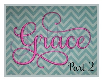 "Grace Embroidery Font #2 - 2"" 3"" 4"" - 11 Formats Machine Embroidery Fonts Script Embroidery Font PES Fonts BX Fonts - Instant Download Files"