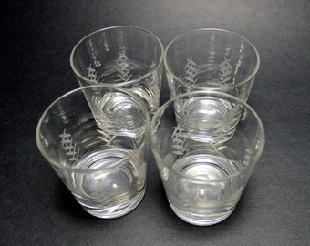A Set of Four Vintage Etched Glass Lowball Glasses