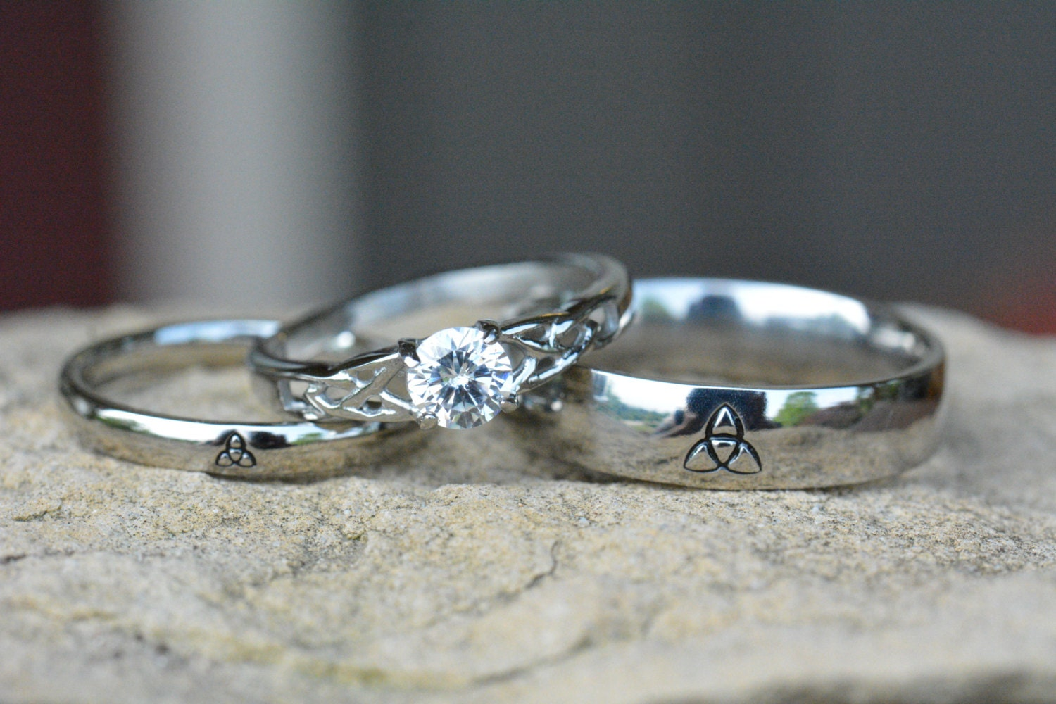 Triquetra Ring Set Irish Wedding Rings By LawrenceCustoms On Etsy