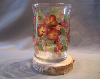 Glass Hurricane with Hand Painted Red and Yellow Flowers