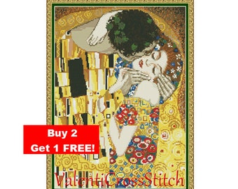 The kiss - Gustav Klimt Cross Stitch Pattern, Kiss, Cross Stitch, Pattern,Patterns, Love, Gustav Klimt, The Kiss