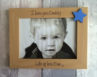 Handcrafted Personalised Fathers Day Daddy Dad Grandad Pops Photo Frame Present Gift