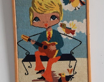 Canvas drawing pop guitarist 70s bird blue orange / Holy 10 vintage decoration / Holy10