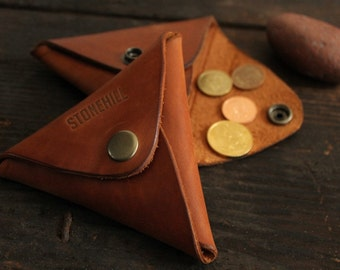 Leather Coin Purse, Leather Triangle Coin purse, Leather Coin Case, Coin Wallet, Free shipping