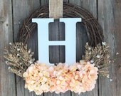 Monogram Wreath, Spring Door Wreath , Wreath, Summer Monogram Wreath, Summer Wreath, Spring Door Wreath, Wedding Wreath, Letter Wreath