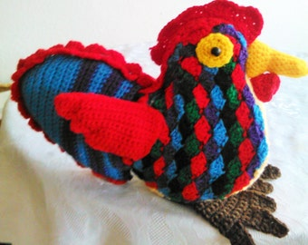 Colorful crochet chicken