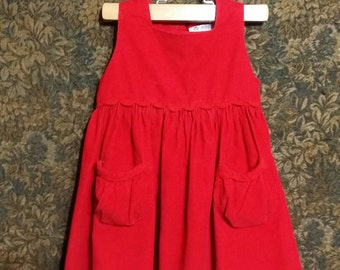 Little girl 1980's red two pocket vintage dress 2T.