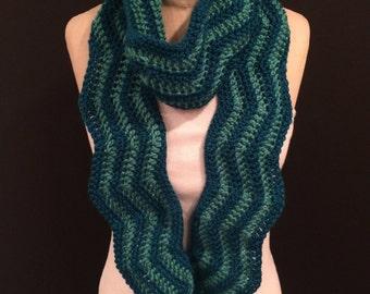 Crocheted Zig-Zag Scarf - FREE U.S. SHIPPING