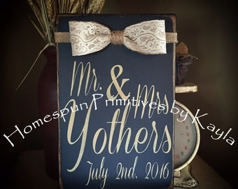 Mr. & Mrs. Wedding Sign with Burlap and Lace Bow