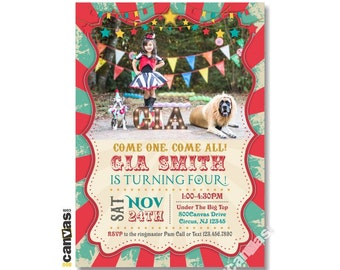 Circus Birthday Party Invitation, Vintage Circus Carnival Birthday invites, Come One Come All, Under the Big Top, Circus Party Printable 39