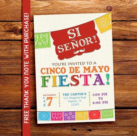 Cinco de Mayo invitations. Mexican party invite