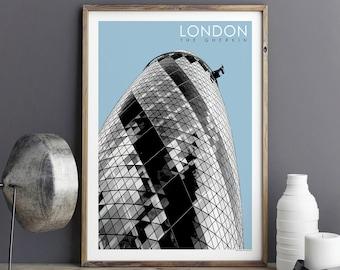 London Print, Travel Print, City Prints, The Gherkin, Travel Gift, Architecture Print, Art Prints, A3 Print, A2 Print