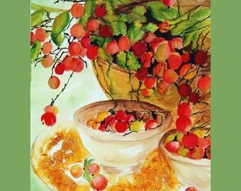 """Print of my original watercolor """" """"Life is Just a Bowl of Cherries"""" """" Watercolor Print"""