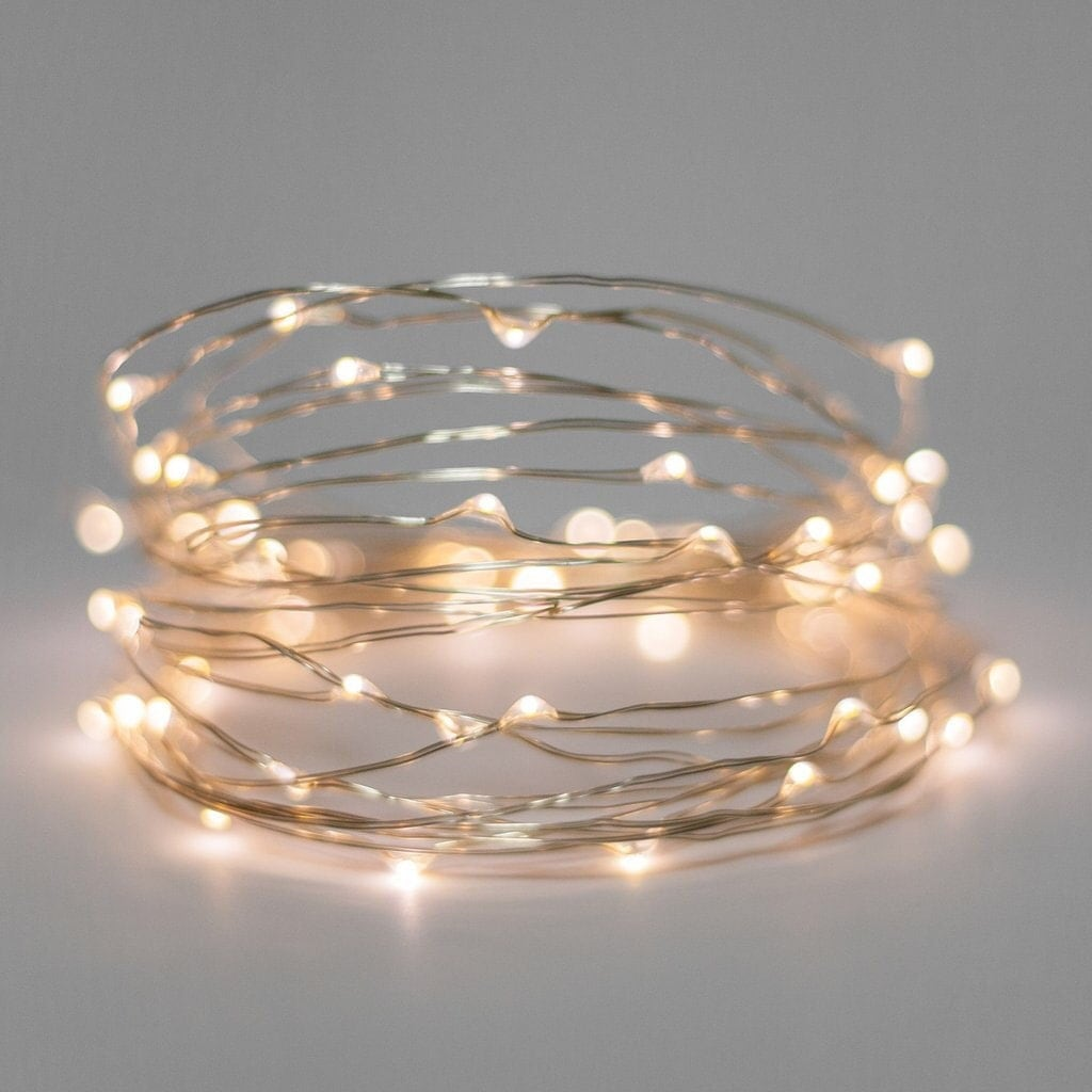Fairy lights ~ Battery light string ~ Copper wire & warm white lights - wedding decor - wedding ...