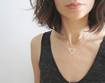 Silver Triangle Necklace - Triangle Layer Necklace - Geometric Simple Necklace - Triangle Pendant - Silver Triangle Chain