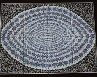 """Set of 12 Hand-Painted Persian Ceramic Mural Tiles 18"""" x 24"""""""