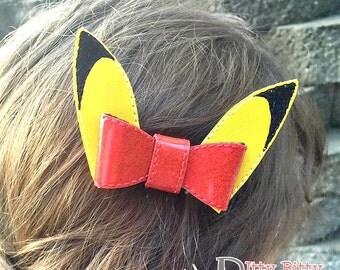 Pikachu inspired hair bow