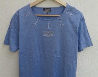 Vintage 90s Joseph Ereuil Paris sewn gold chest soft cotton tee shirt