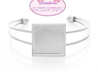 2 bracelets Cabochon square 25mm silver